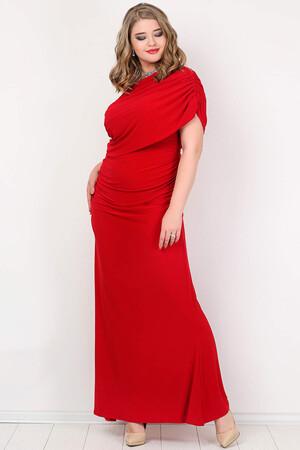 Angelino Style - KL8191 Büyük Beden Tek Omuz Uzun Abiye Kırmızı (1)