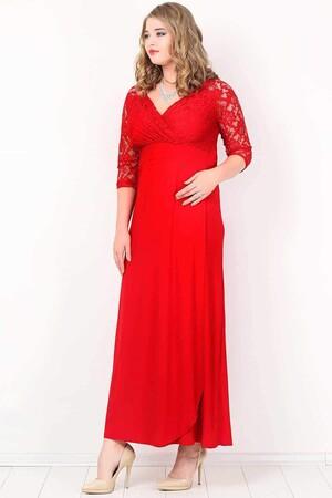 Angelino Butik - Büyük Beden Güpürlü Uzun Abiye Elbise KL8756 (1)