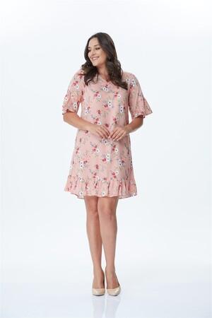 - Kol Detaylı Desenli Elbise (1)