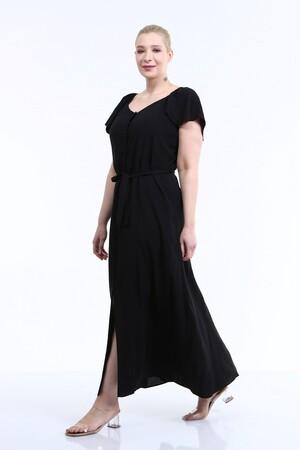 - Kolları Volanlı Uzun Elbise (1)