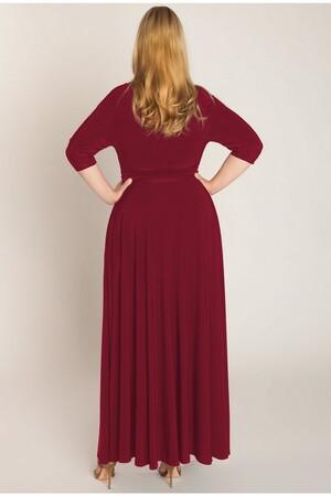 Mangolino Dress - MANGOLİNO DRESS MD594 Büyük Beden Abiye Elbise 40-60 Bordo (1)