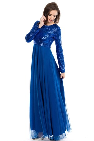 Mangolino Dress - MANGOLİNO DRESS MD7887 Büyük Beden Payetli Abiye 42-60 Saks (1)