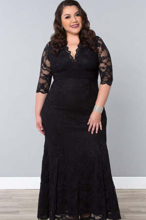 Mangolino Dress - Mangolino Dress Büyük Beden Abiye MD26001 40-62 Siyah (1)