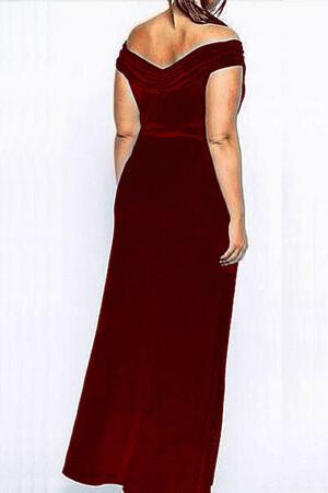 Mangolino Dress - MANGOLİNO DRESS MD126 Büyük Beden Abiye Elbise Bordo (1)