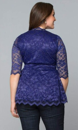 Mangolino Dress - MANGOLİNO DRESS MD312 Büyük Beden Zarif Bluz Sax 40-62 (1)