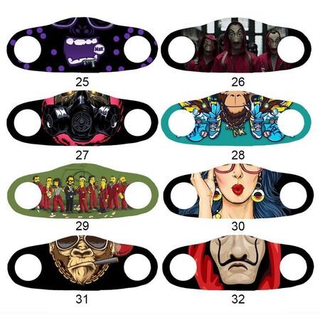 Angelino Butik - Moda Maske Metalik Ağız Baskı No 39 Yıkanabilir Yetişkin Yüz Maskesi (1)
