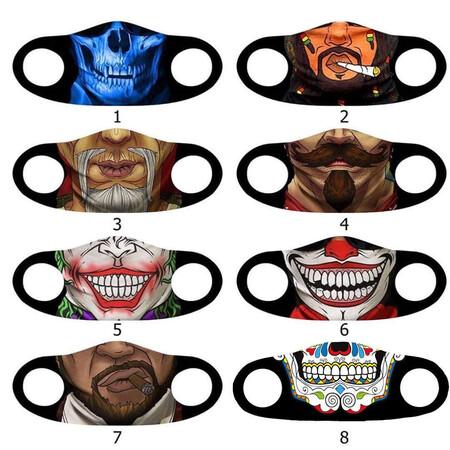 Angelino Butik - Moda Maske Zombi Renkli Baskı No 50 Yıkanabilir Yetişkin Yüz Maskesi (1)