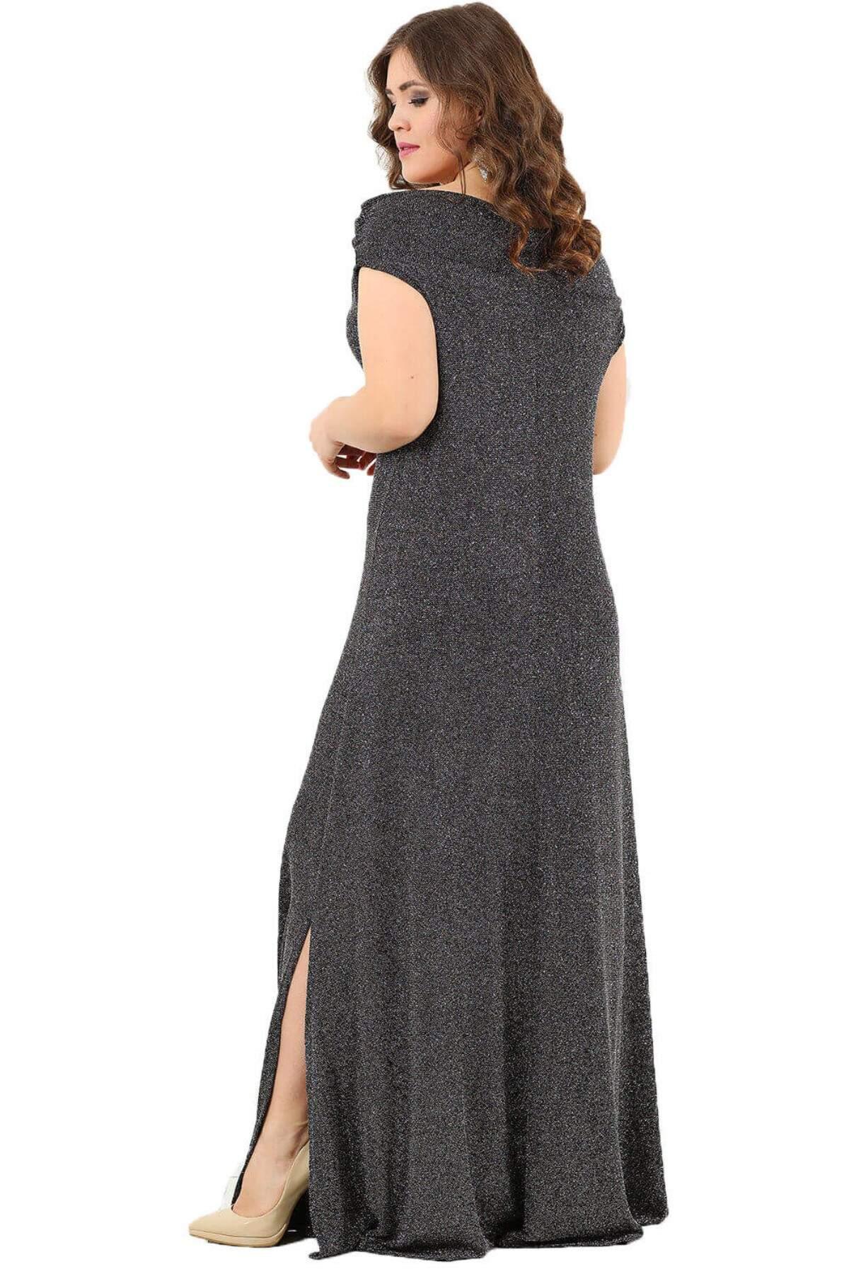Öpücük Yaka Parıltılı Likralı Büyük Beden Uzun Abiye Elbise DD127