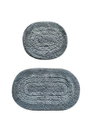 Angelino Butik - Örgü Pamuk 2'li Banyo Paspas Seti Yıkanabilir Oval 60x100 + 60x70 Cm (1)