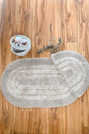 Angelino Butik - Örgü Pamuk 2'li Banyo Paspas Seti Yıkanabilir Oval mz500 60x100 + 60x70 Cm (1)