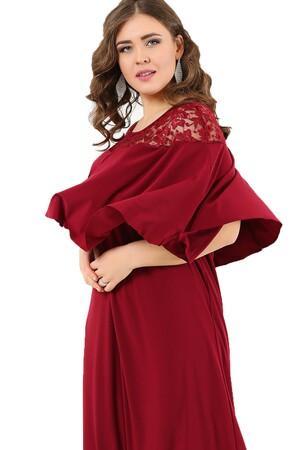 Angelino Butik - Pelerin Yaka Kolları Örten Büyük Beden Uzun Abiye Elbise DD792 (1)