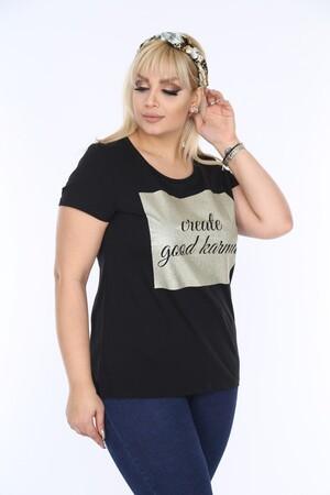 Angelino Fashion - Penye Creata Simli Bluz Siyah FR304 (1)