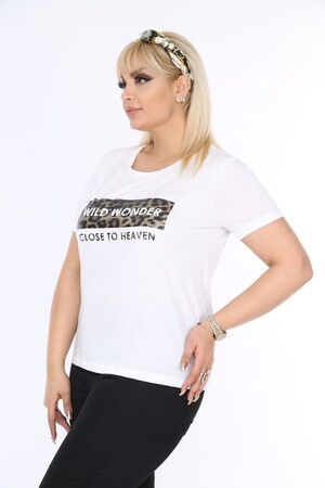 Angelino Butik - Penye Leopar Bluz Beyaz FR305 (1)
