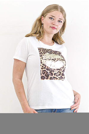 Angelino Butik - Penye Leopar Desen Dudak Baskılı Bluz Beyaz FR304 (1)