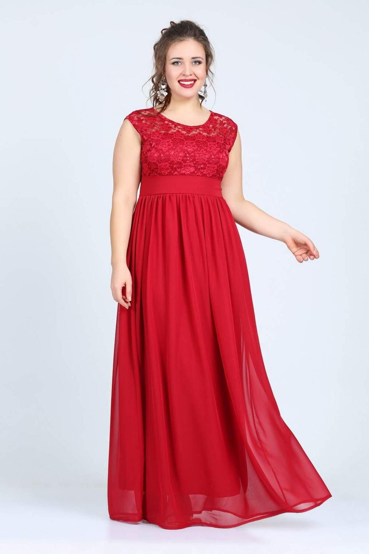 0c185cfe67b9 Plus Size Red Chiffon Dress
