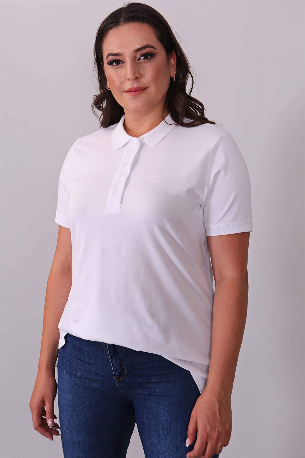 Polo Yaka Kısa Kol Beyaz T-Shirt