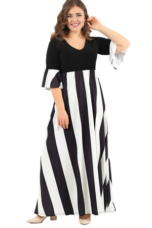 ae81d6ae53f88 ... Angelino Butik - Striped Lycra Large Size Evening Dress Gown DD2405 (1)