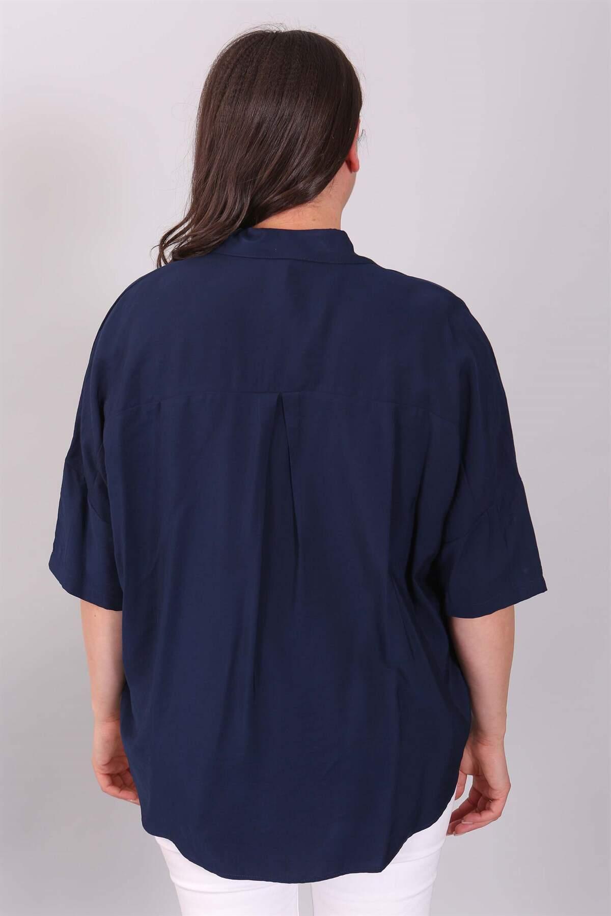 Taş Baskılı Yıldız Desenli Lacivert Gömlek