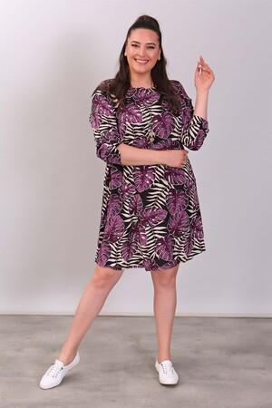 - Tropikal Yaprak Desenli Mürdüm Elbise (1)