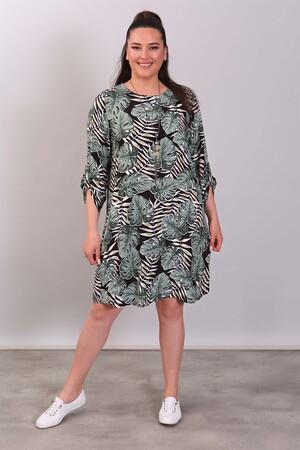 - Tropikal Yaprak Desenli Yeşil Elbise (1)