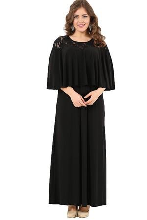 Angelino Butik - Volanlı Yaka Kolları Örten Büyük Beden Uzun Abiye Elbise DD792 (1)