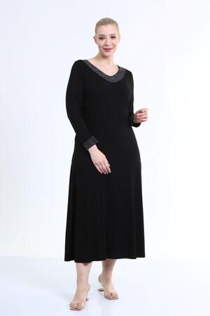 - Yaka Ve Kol Ucu Simli Penye Elbise (1)