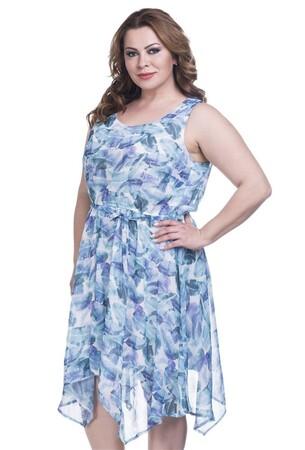 - Yaprak Desenli Şifon Astarlı Elbise (1)