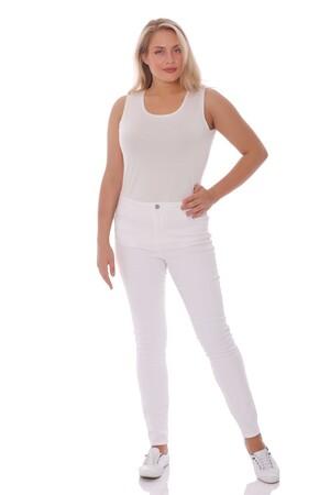 - Yüksek Bel Cep Detaylı Beyaz Pantolon (1)
